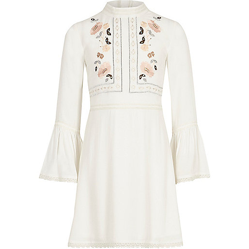 Girls white embroidered bell sleeve dress