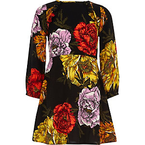 Girls black floral print long sleeve dress