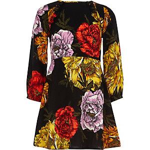 Zwarte jurk met lange mouwen en bloemenprint voor meisjes