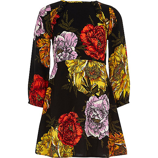 Girls black floral print long sleeve dress