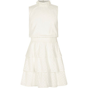 Girls frill skirt high neck sleeveless dress