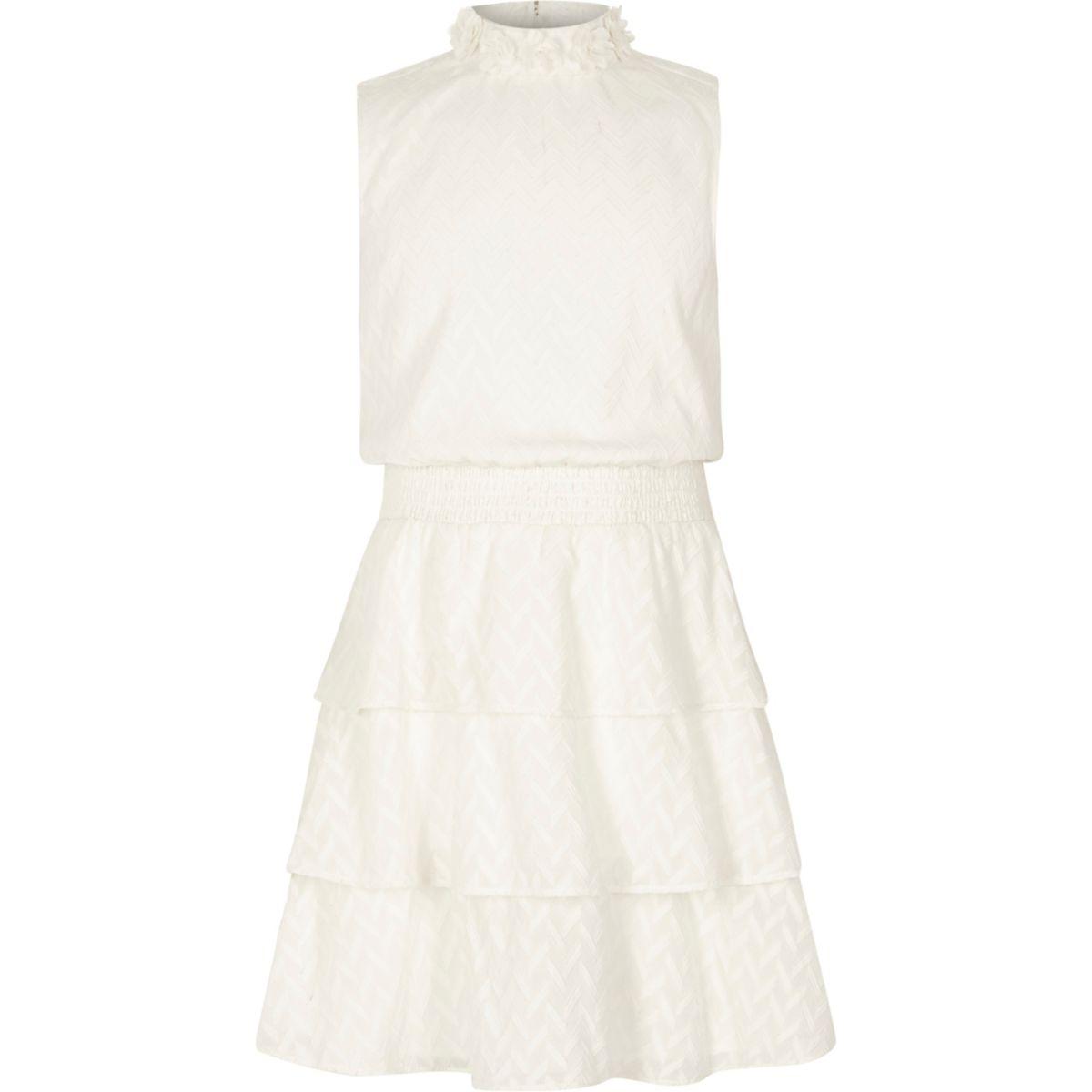 Girls frill skirt high neck sleeveless dress