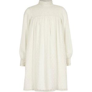 Robe trapèze blanche froncée à col montant fille
