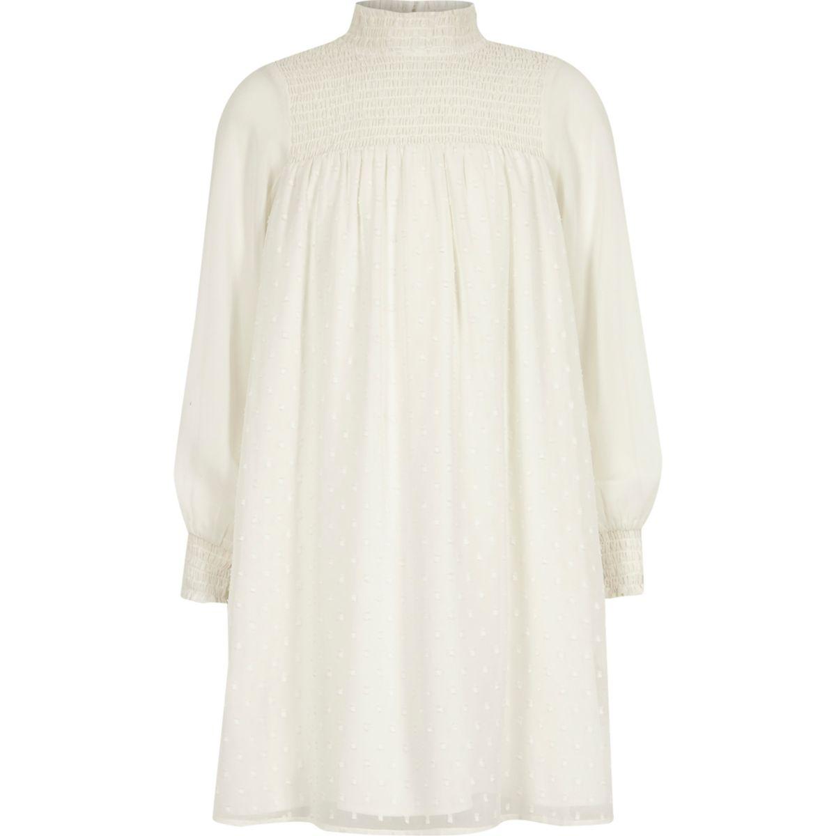 Girls white shirred high neck trapeze dress