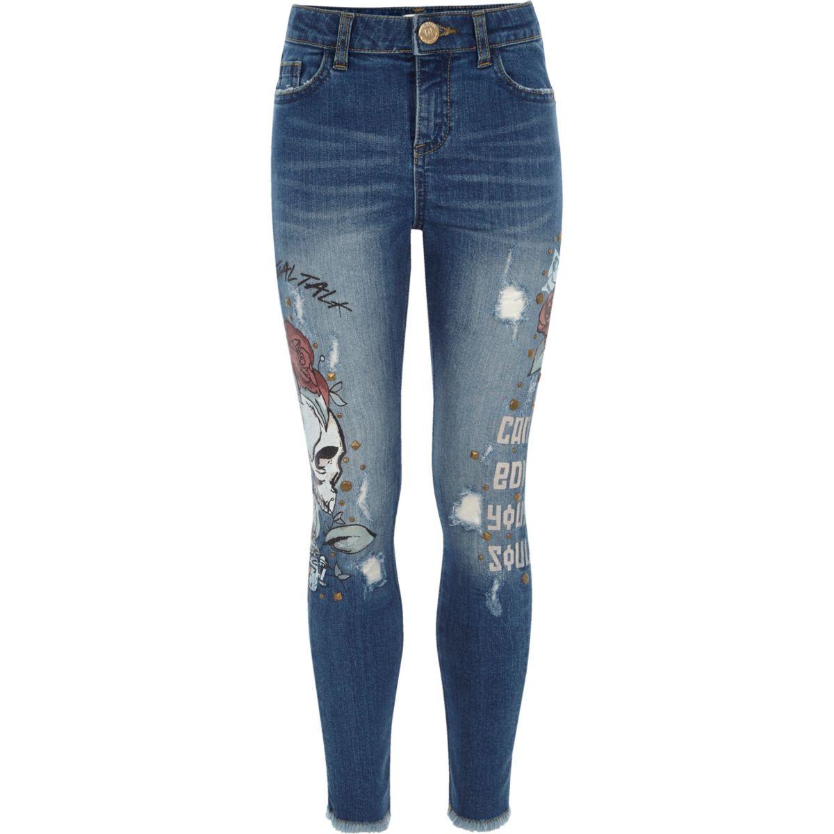 Girls blue Amelie skull super skinny jeans - Skinny Jeans ...