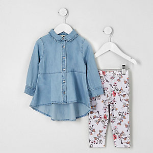 Mini girls outfit van denim overhemd en legging