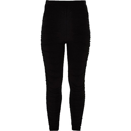 Girls black ruched leggings
