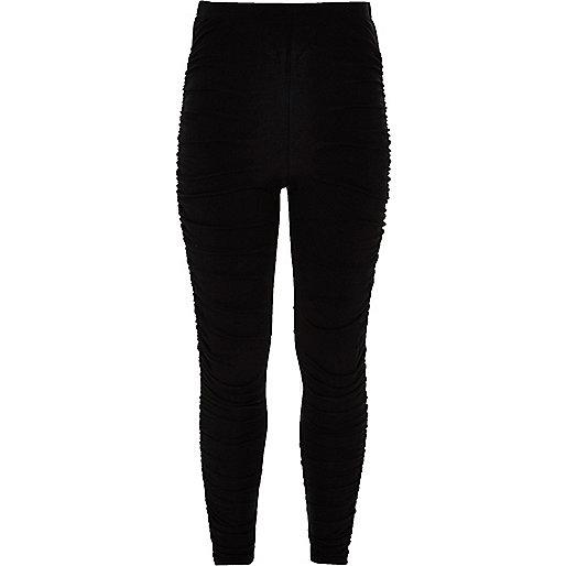 Girls black ruched leggings