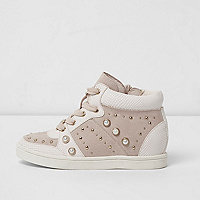 Girls pink high top embellished sneakers