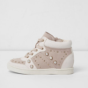Mini girls pink high top embellished trainers