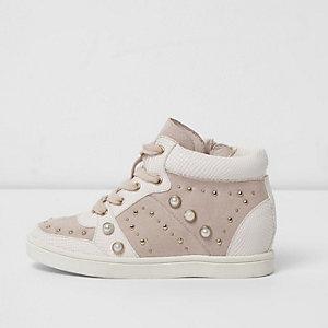 Roze verfraaide hoge sneakers voor meisjes