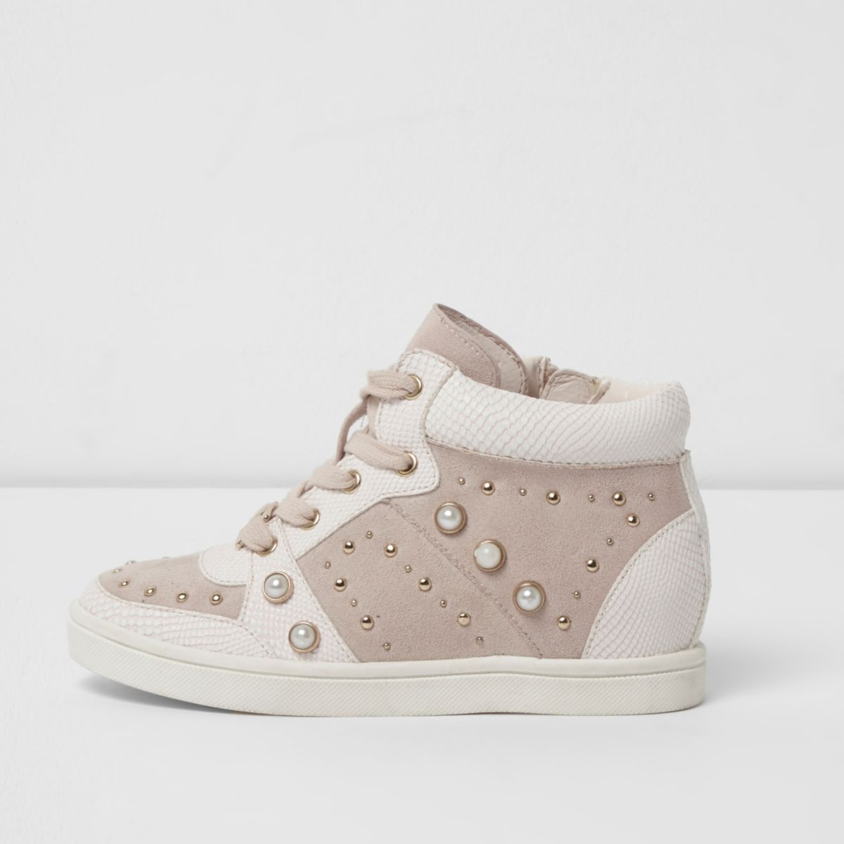 Girls pink high top embellished trainers