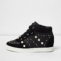 Girls black high top embellished trainers