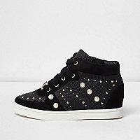 Girls black high top embellished sneakers