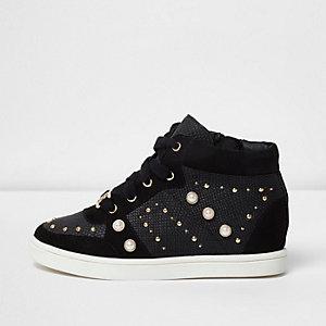 Zwarte hoge verfraaide sneakers voor meisjes