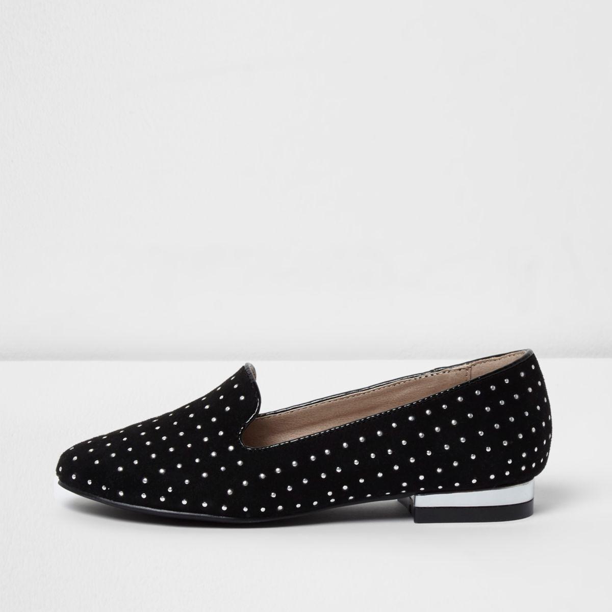 Girls black studded low block heel loafers