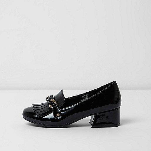 Girls black patent chain block heel loafers
