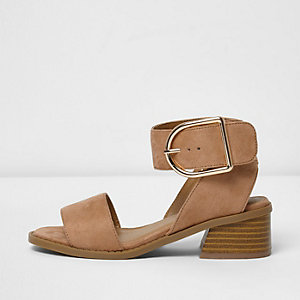 Girls orange two part block heel sandals