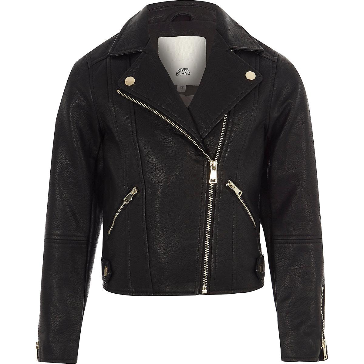 Girls black faux leather biker jacket