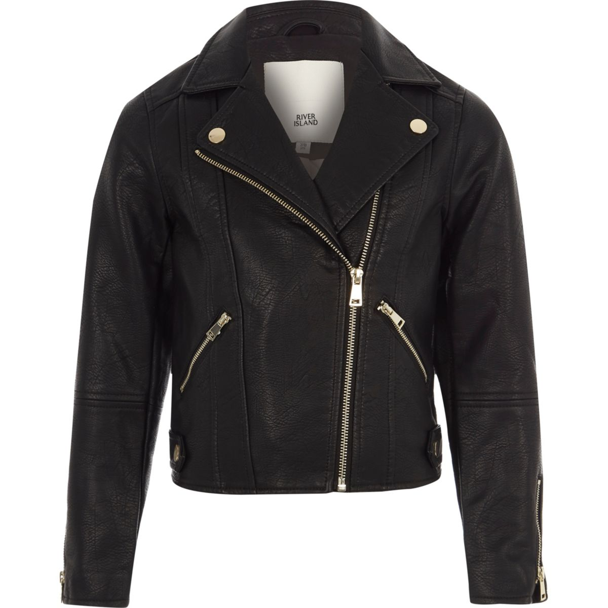 Girls black faux leather biker jacket - Jackets - Coats ...