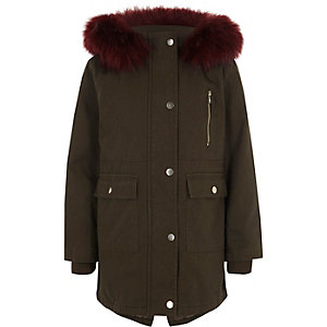 Girls khaki faux fur trim parka coat