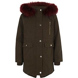 Girls khaki fur trim parka coat
