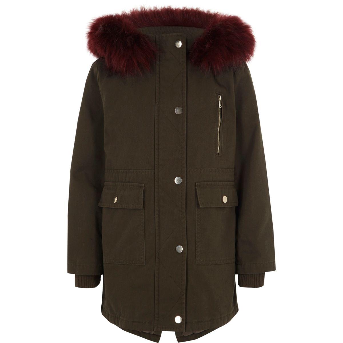 Girls khaki faux fur trim parka coat
