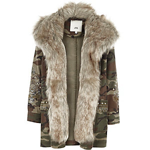 Girls camo embroidered faux fur parka coat