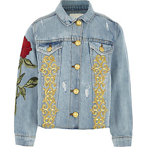 Girls blue rose embroidered denim jacket