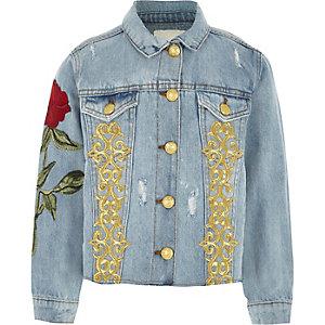 Veste en jean bleue avec roses brodées pour fille