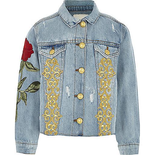 Girls blue rose embroidered denim jacket