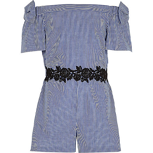 Girls blue stripe bow bardot romper