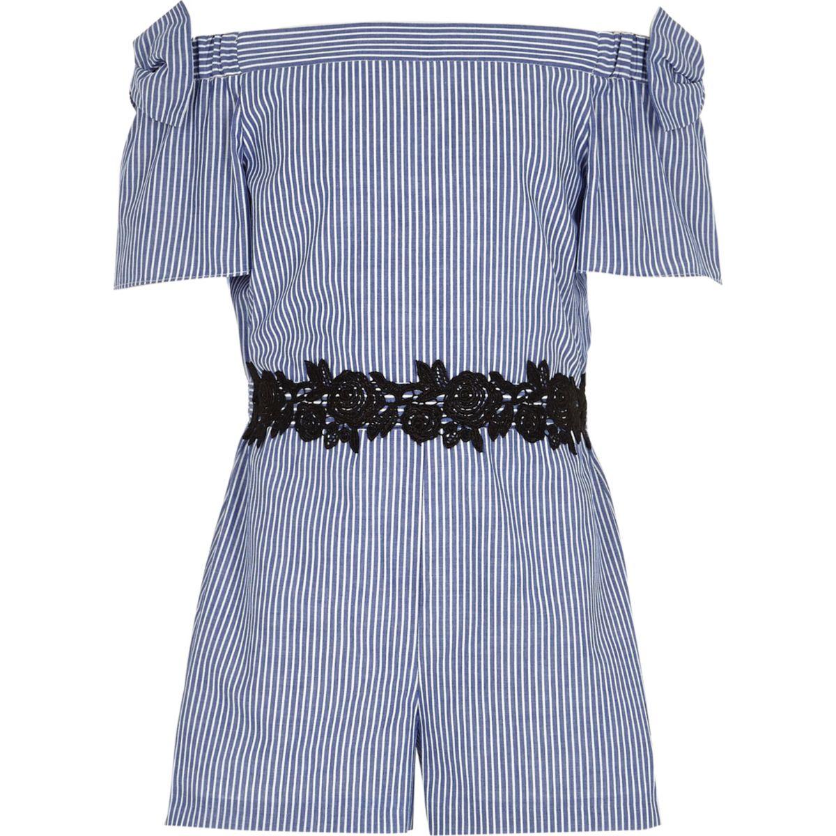 Girls blue stripe bow bardot playsuit