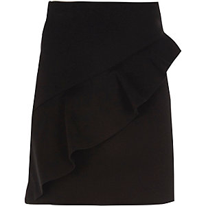 Girls black asymmetric frill A-line skirt