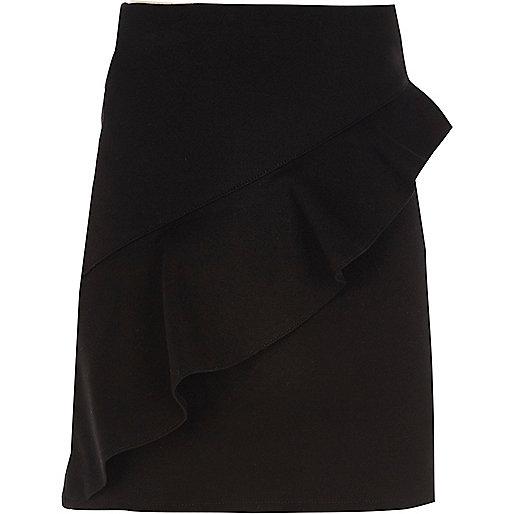 Girls black asymmetric frill A-line skirt