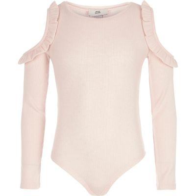 Roze geribbelde schouderloze bodysuit voor meisjes