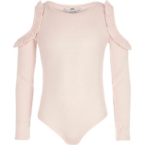 Girls pink rib frill cold shoulder bodysuit