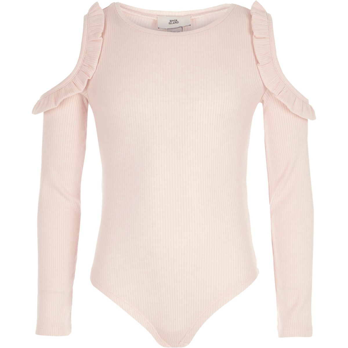 Girls pink rib frill cold shoulder bodysuit