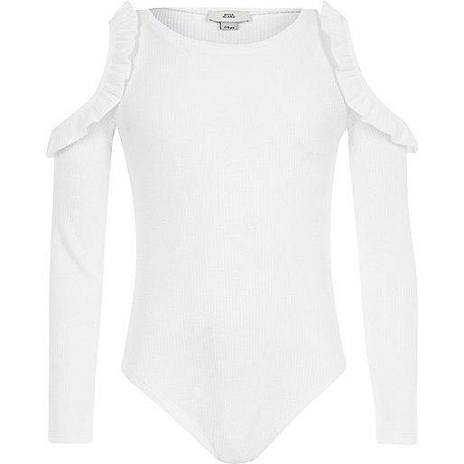 Girls white rib frill cold shoulder bodysuit