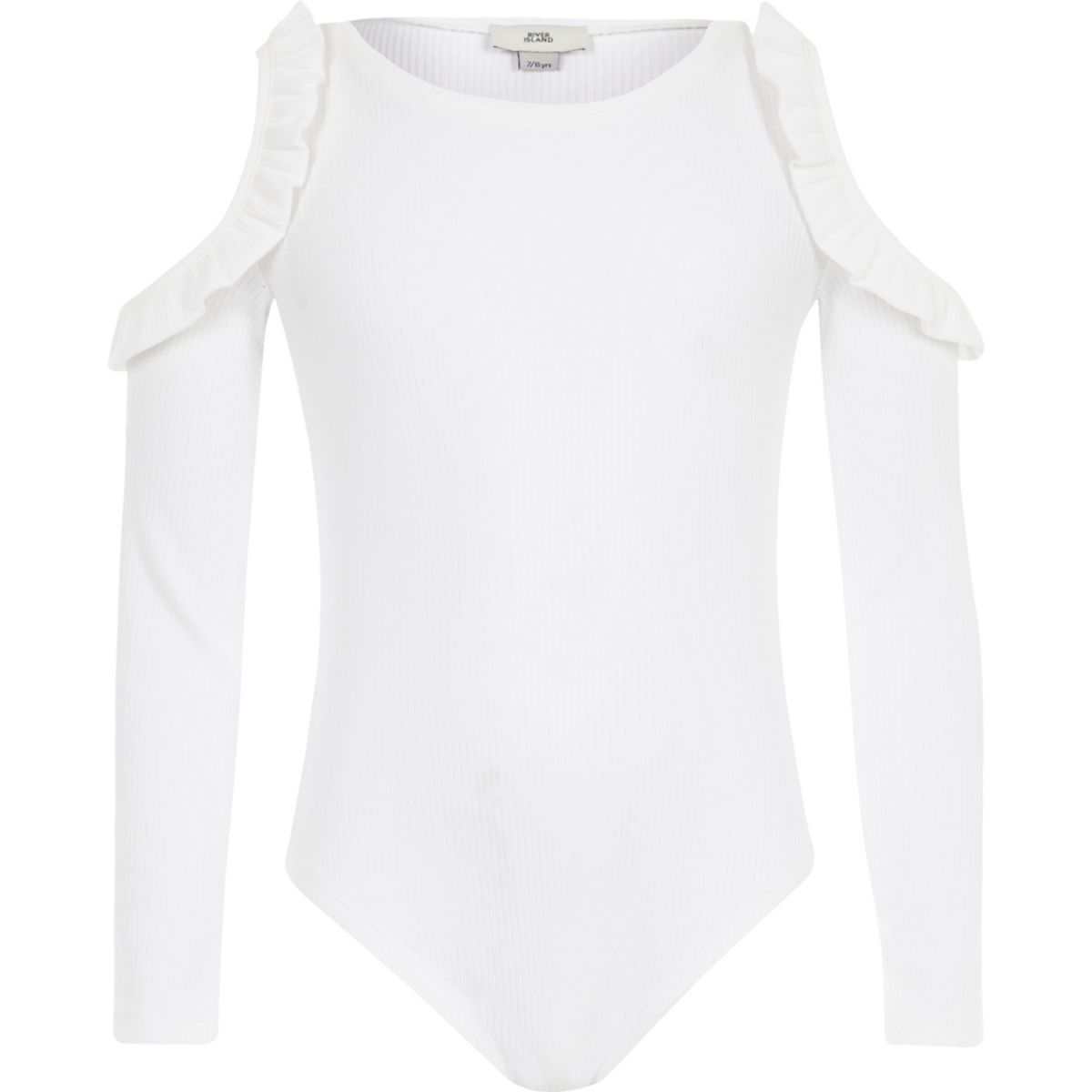 Girls white rib frill cold shoulder bodysuit