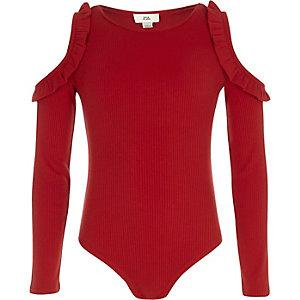 Body rouge côtelé à épaules dénudées et volants pour fille