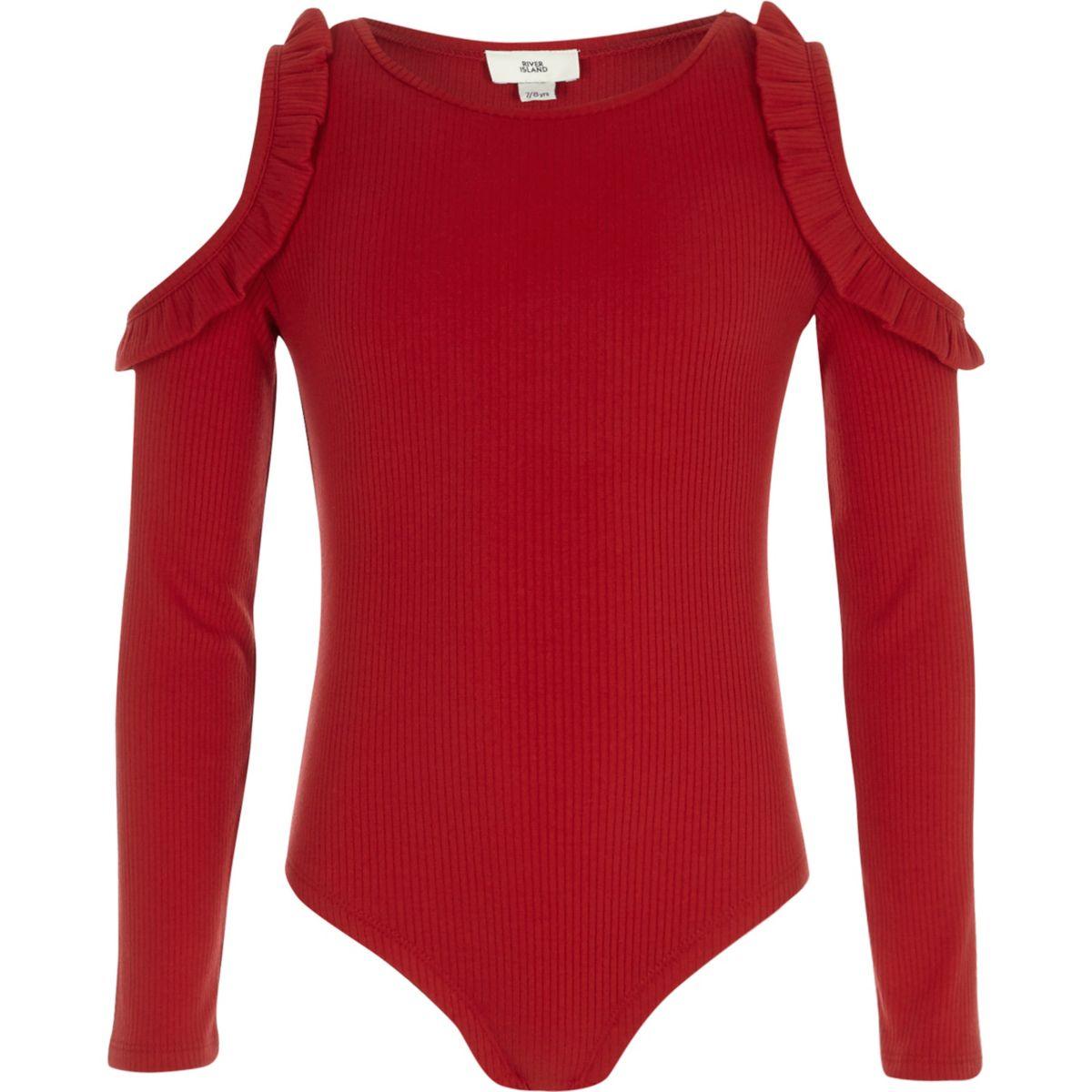 Girls red rib frill cold shoulder bodysuit