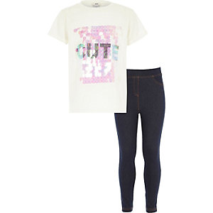Girls white 'cute' top and jeggings outfit