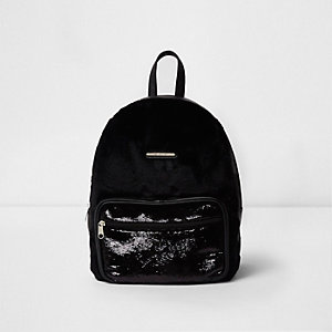 Girls black faux fur sequin backpack