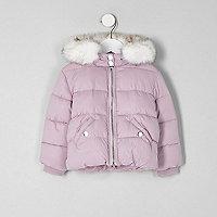 Doudoune violette à capuche en fausse fourrure mini fille