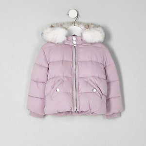 Mini girls purple fur hood puffer jacket