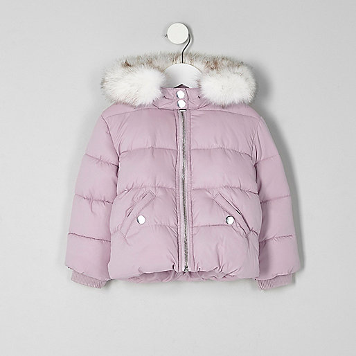Mini girls purple fur hood puffer jacket