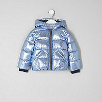 Mini girls blue metallic padded coat
