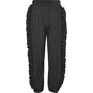 Pantalon de jogging gris à paillettes avec volants sur le côté pour fille