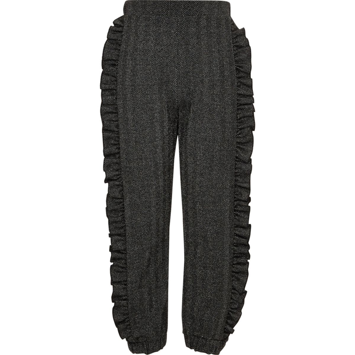 Girls grey glitter frill side joggers